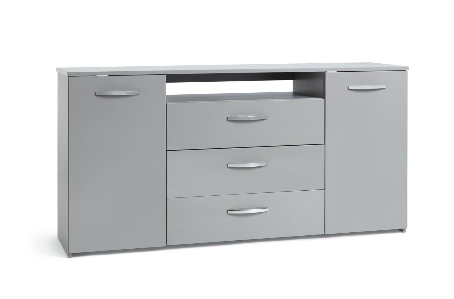 hygena 1 door 4 drawer sideboard grey gloss