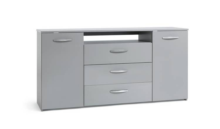 Habitat Hayward 2 Dr 3 Drawer Large Sideboard -Grey Gloss
