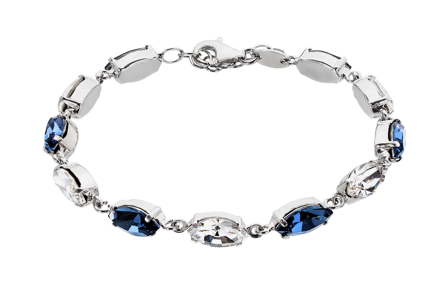 Image of Davvero Sterling Silver Blue Tone Swarovski Crystal Bracelet