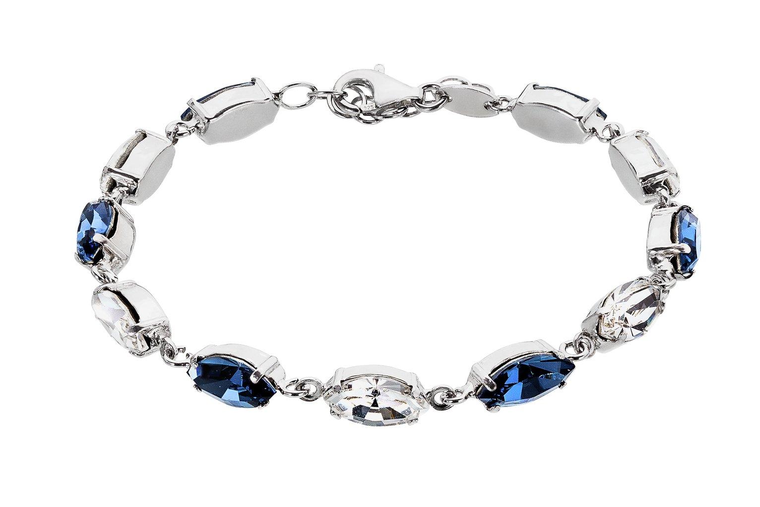 Revere Sterling Silver Blue Tone Swarovski Crystal Bracelet