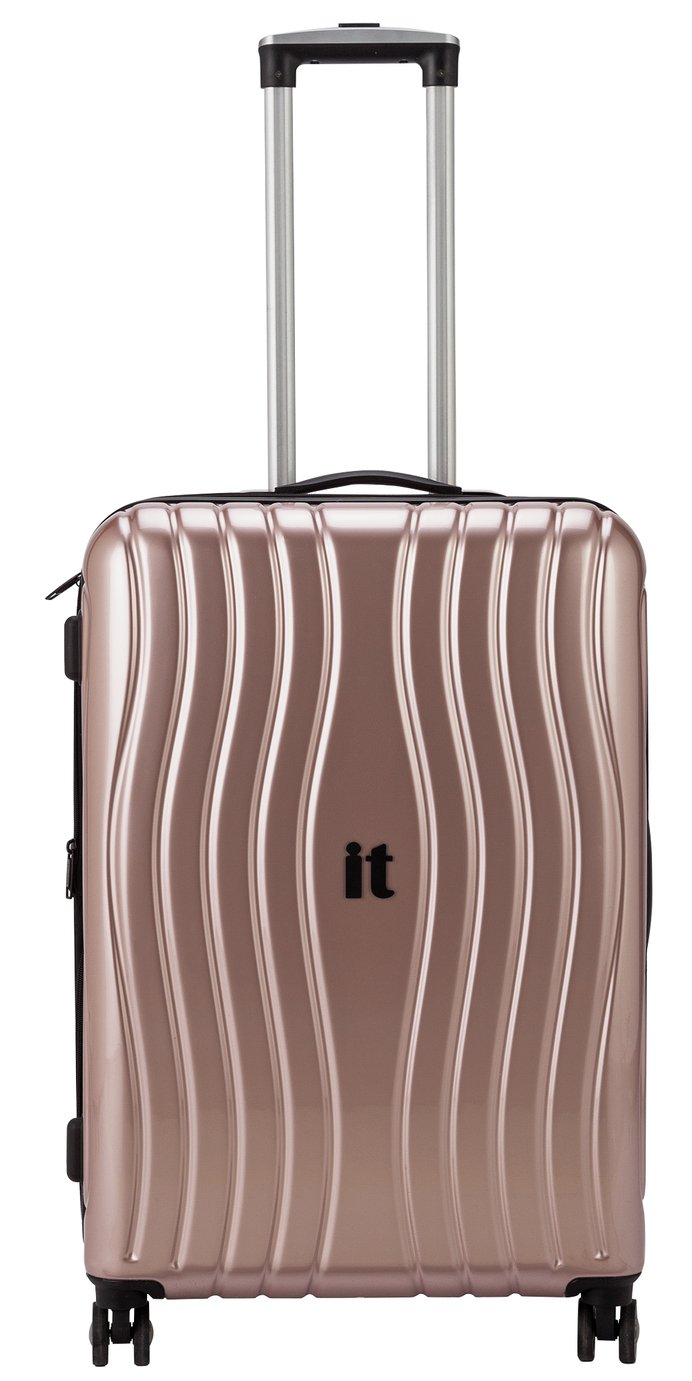 Sale On It Luggage 8 Wheel Hard Cabin Suitcase Metallic