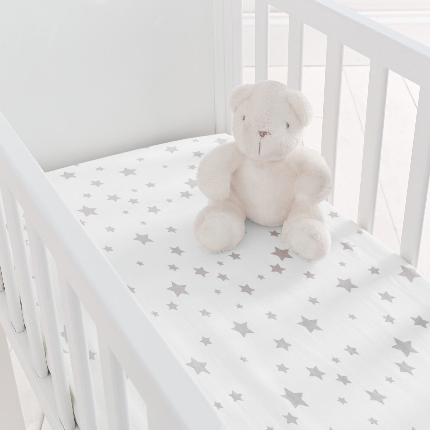 Silentnight Fitted Crib Sheet 2 Pack - Grey Stars