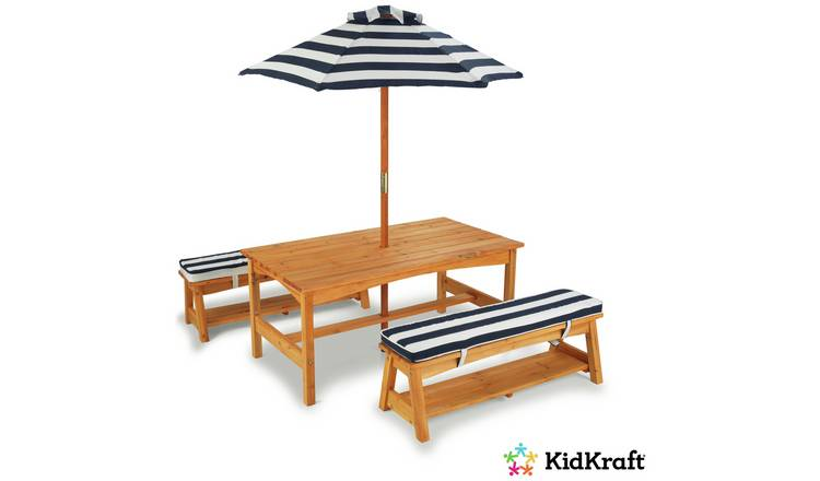 Buy Kidkraft Outdoor Table And Bench Set Navy And White Kids