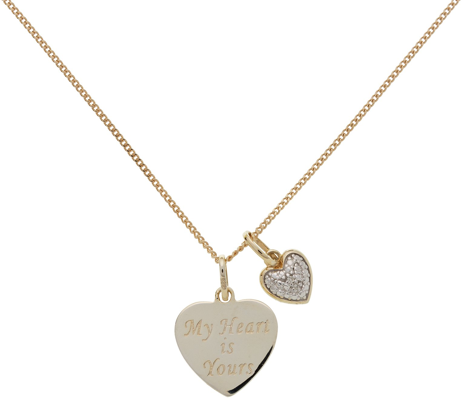 Moon & Back 9ct Gold Plated Silver Diamond Accent Pendant