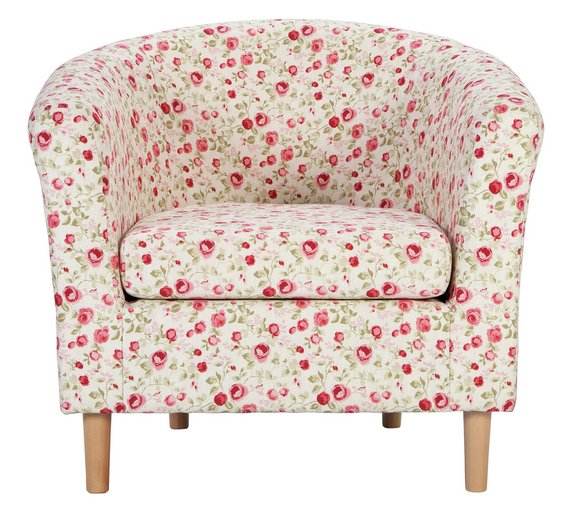buy argos home molly fabric floral tub chair red armchairs and