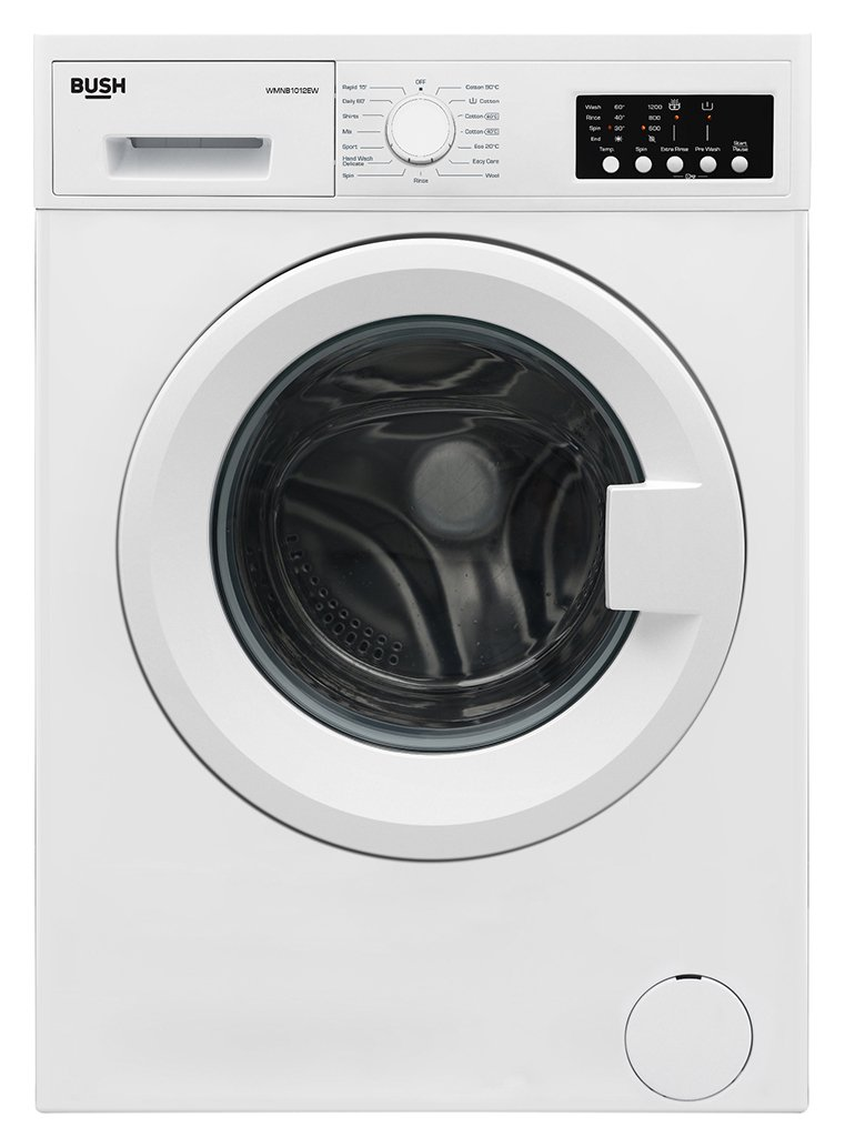 Bush WMNB1012EW 10KG Washing Machine - White Best Price, Cheapest Prices
