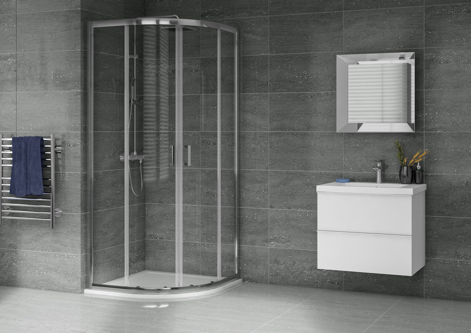 Aqualux 800mm x 800mm Quadrant Enclosure & Shower Tray