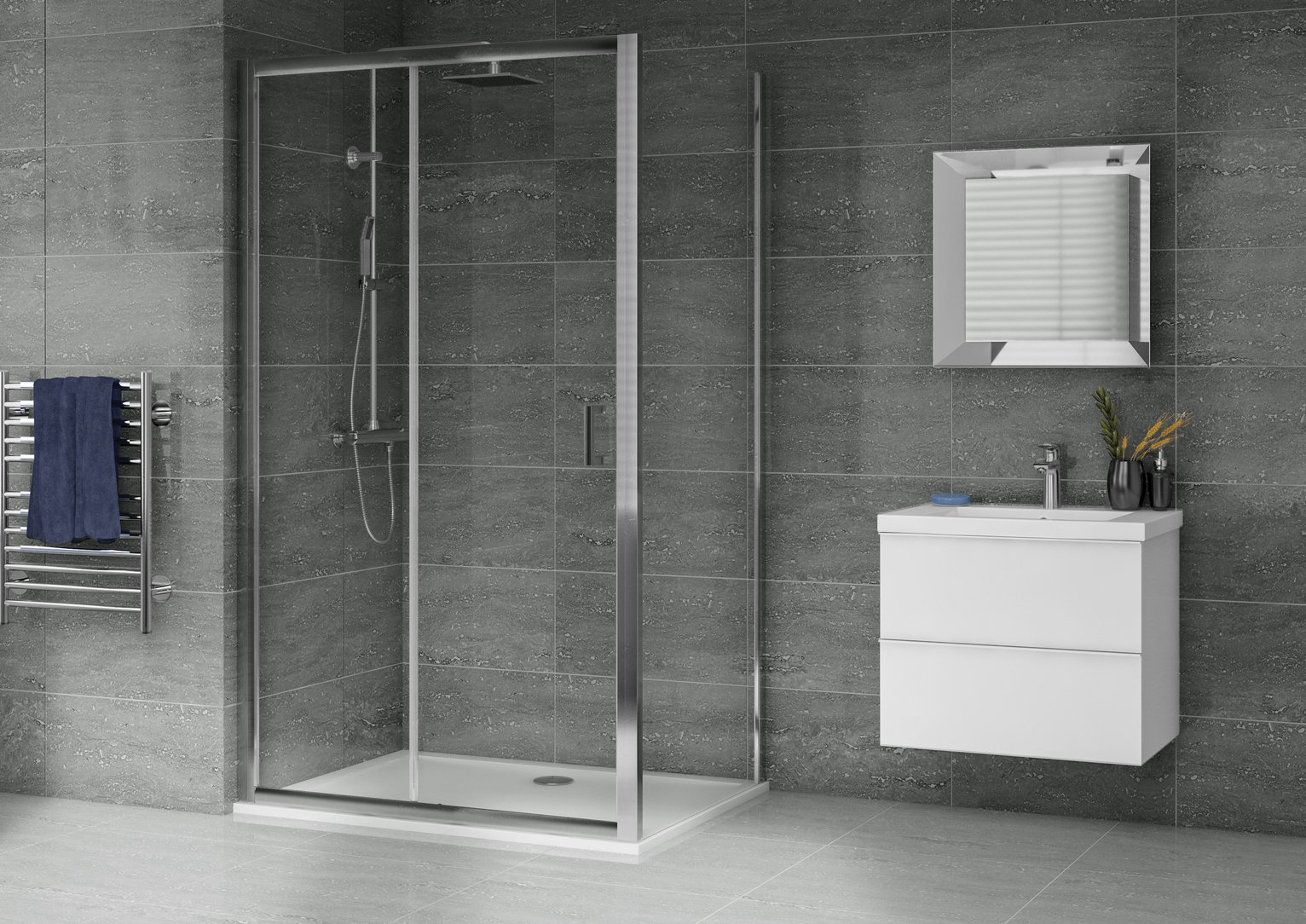 Image of Aqualux 1200mm x 800mm Sliding Door Shower Enclosure & Tray