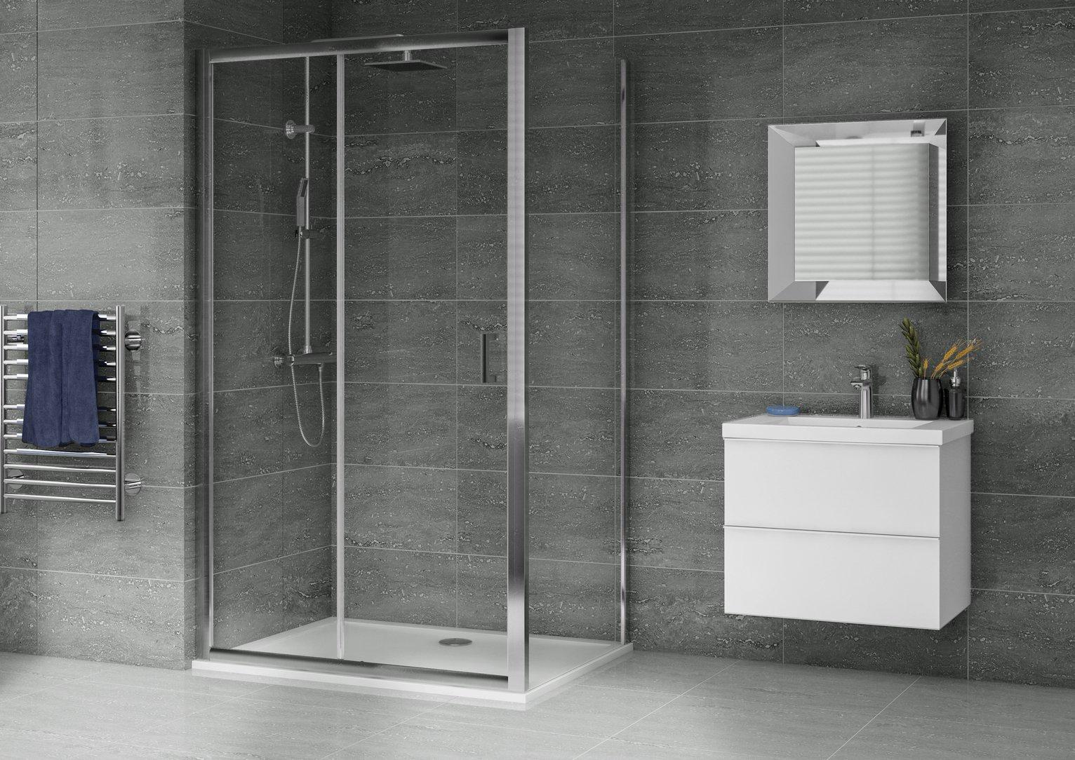 Aqualux 1200mm x 800mm Sliding Door Shower Enclosure & Tray
