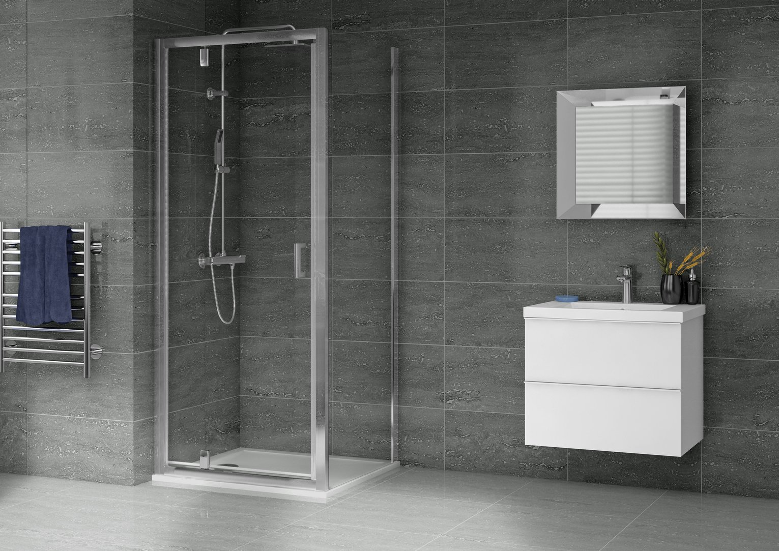 Image of Aqualux 900mmx900mm Pivot Shower Enclosure & Tray