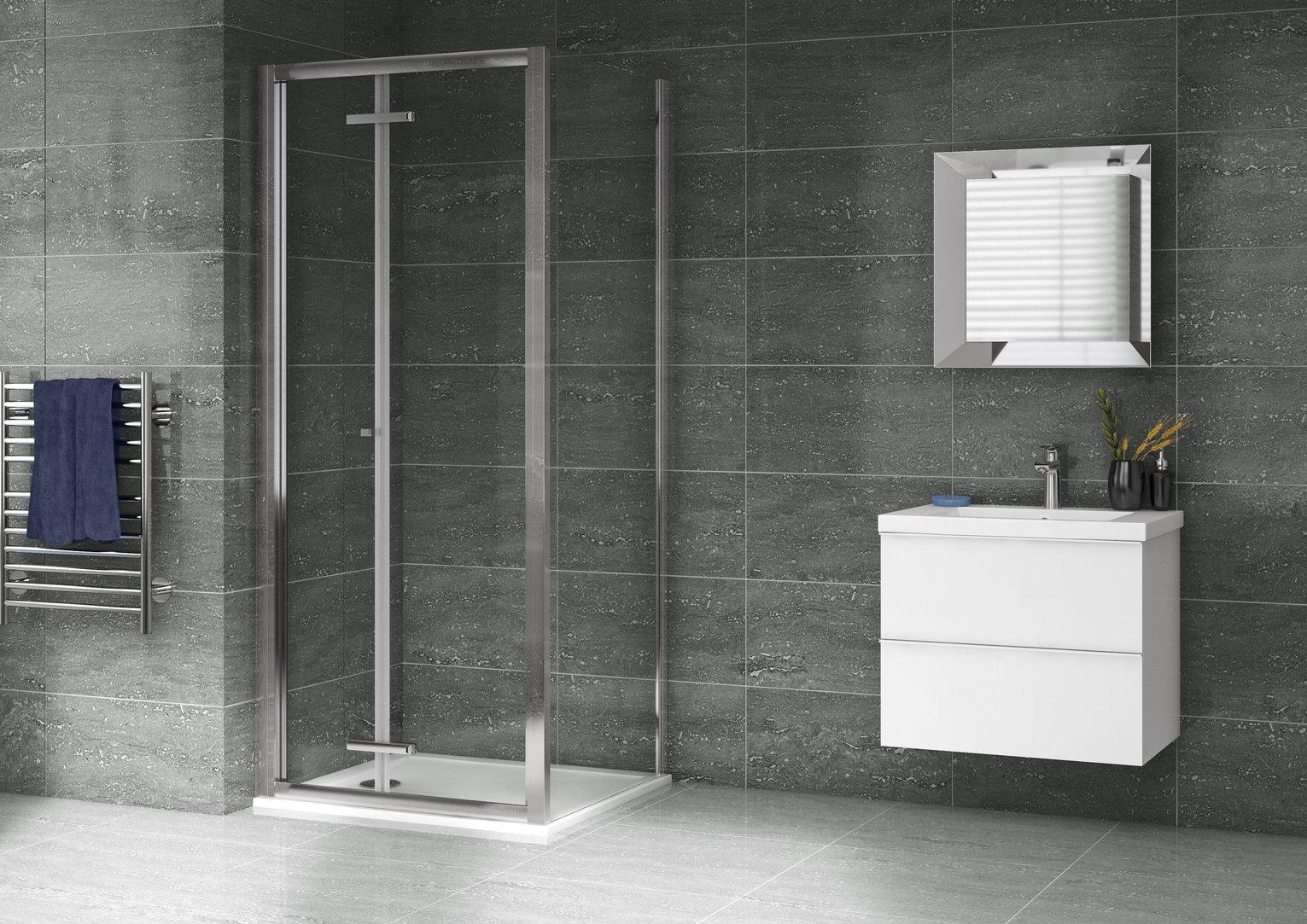 Aqualux 900mm x 900mm Bi-Fold Shower Enclosure & Tray