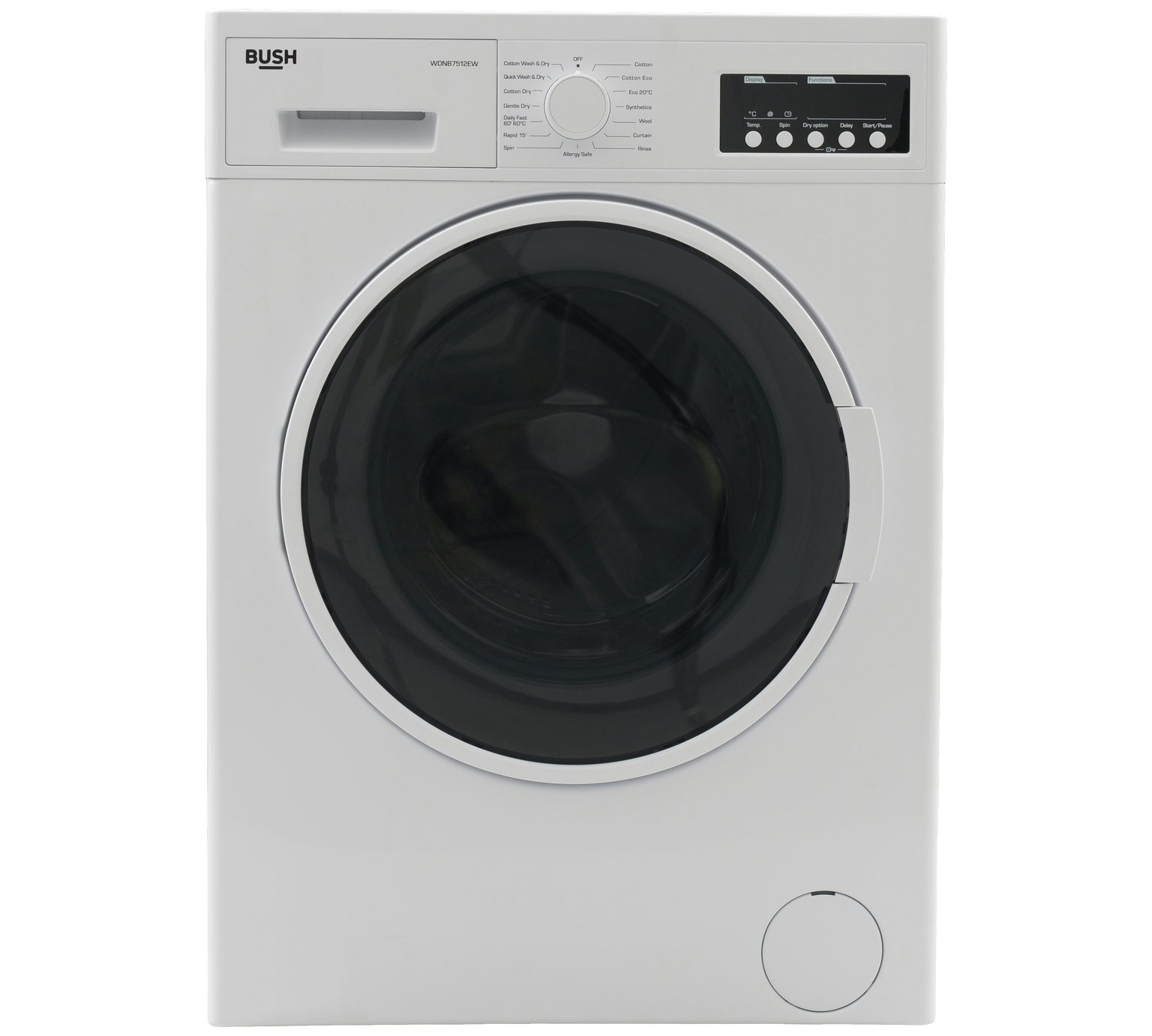 Bush WDNB7512EW 7KG / 5KG 1200 Spin Washer Dryer - White by Bush 804/4233