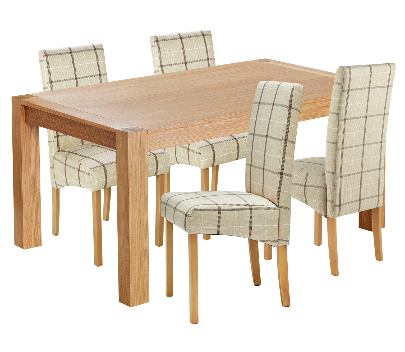 Argos Home Alston Extendable Table & 4 Chairs - Cream Chk