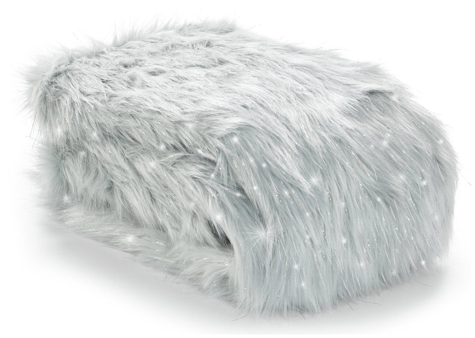 Image of Catherine Lansfield Metallic Fur Throw - Silver