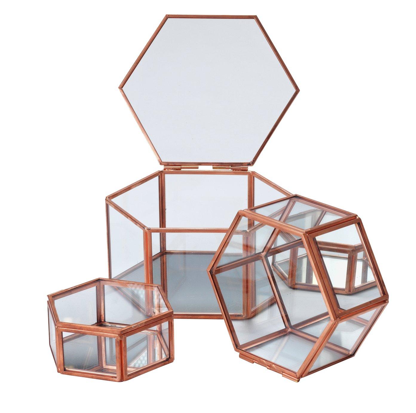Rose Gold Edged Glass Trinket Boxes -  Set of 3