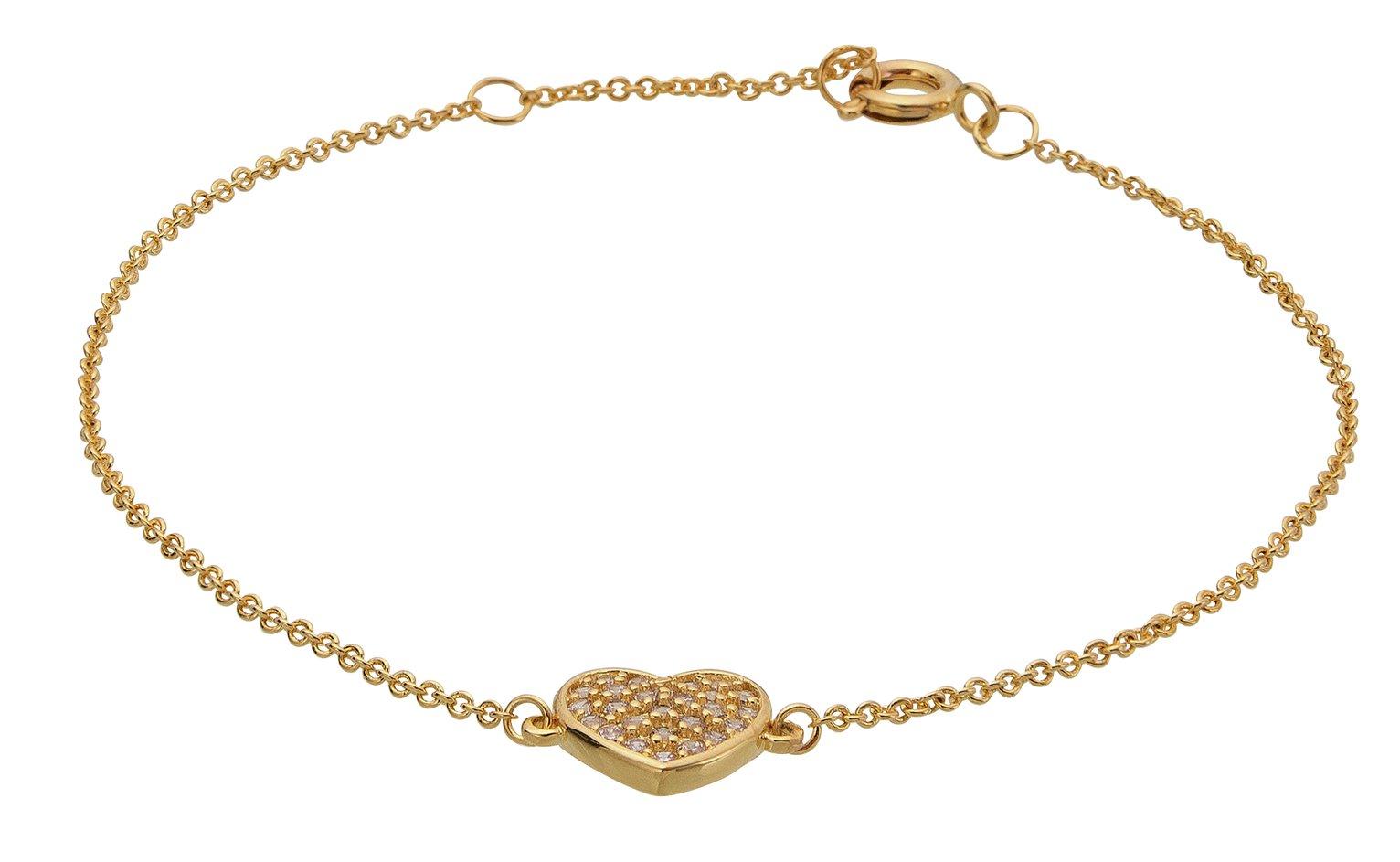 Image of Abbey Clancy Gold Colour Cubic Zirconia Heart Bracelet