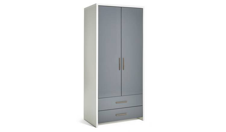 Habitat Broadway 2 Dr 2 Drw Wardrobe - Grey Gloss & White
