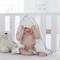 Silentnight Baby Hooded Towel - Grey Stars