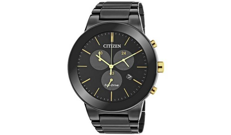 Citizen Men's Eco-Drive  Chronograph Black Steel Watch