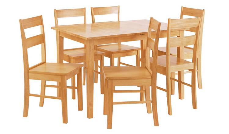 90472b3713 Argos Home Chicago Extendable Table & 6 Chairs - Natural804/7065