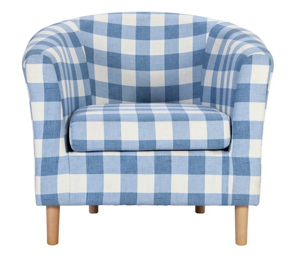 buy argos home molly fabric check tub chair blue armchairs and