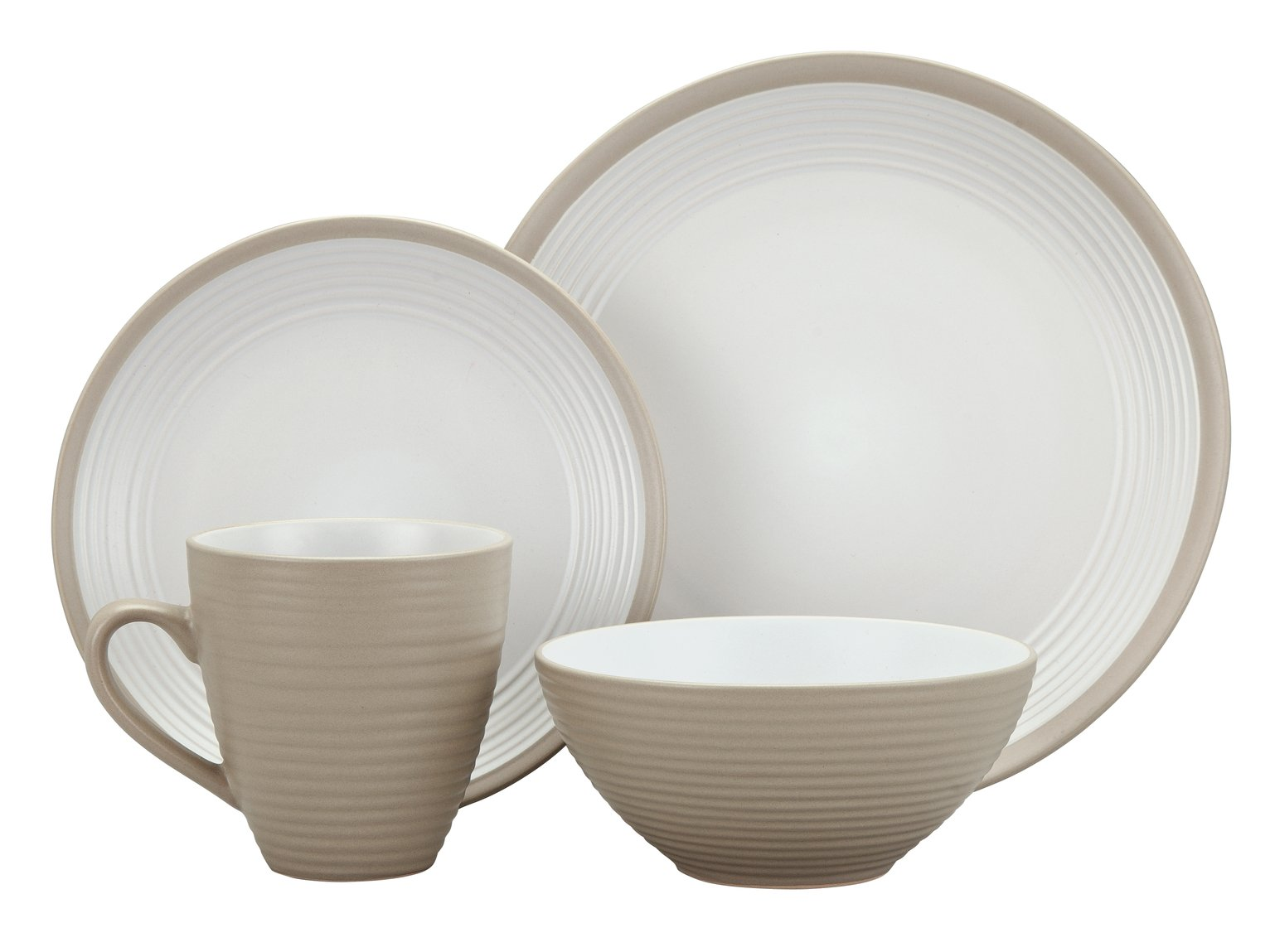 Argos Home Ribbed 16 Piece Dinner Set - Warm Natural