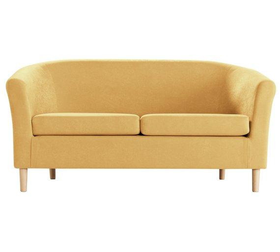 buy argos home 2 seater fabric tub sofa yellow sofas argos