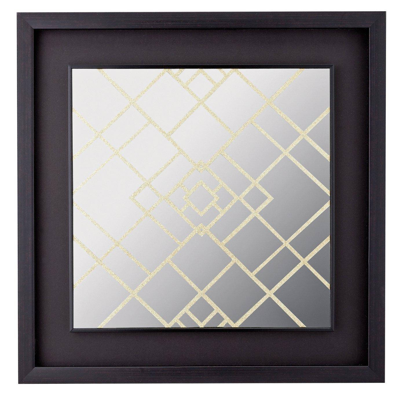 Collection Square Glitter Mirror - Grey & Gold