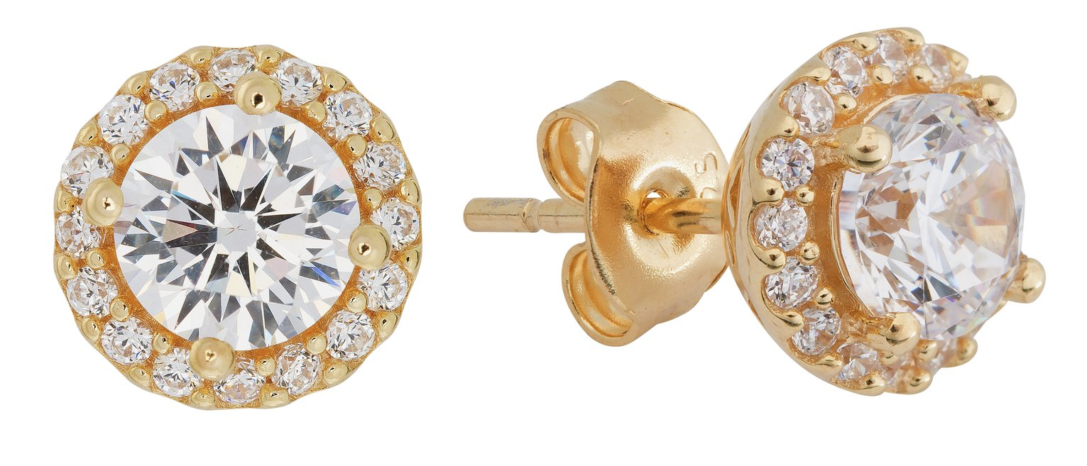 Image of Revere 18ct Gold Plated Silver CZ Halo Stud Earrings