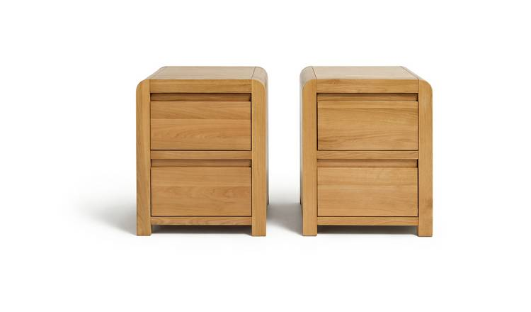 Habitat Novara 2 Bedside Tables Set - Oak & Oak Veneer