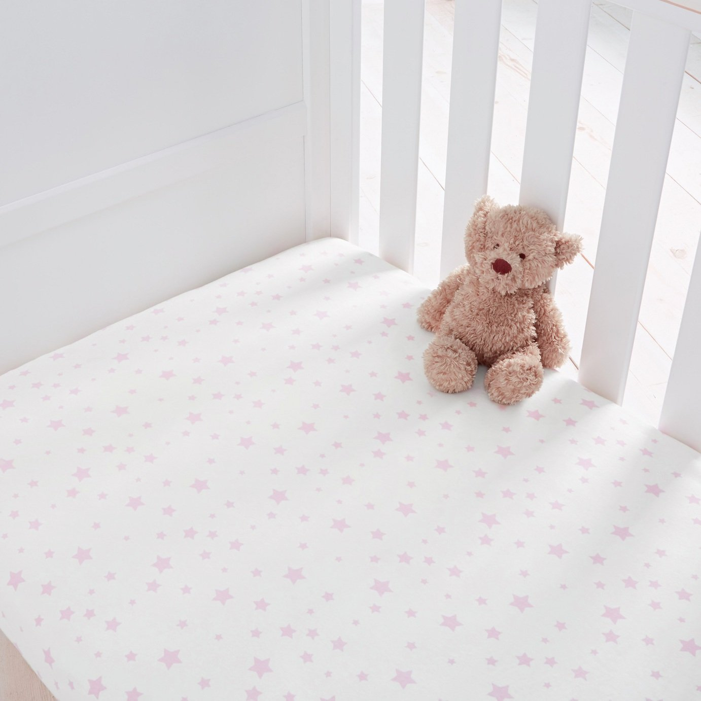 Silentnight Stars Fitted Cot Bed Sheet 2 Pack - Pink