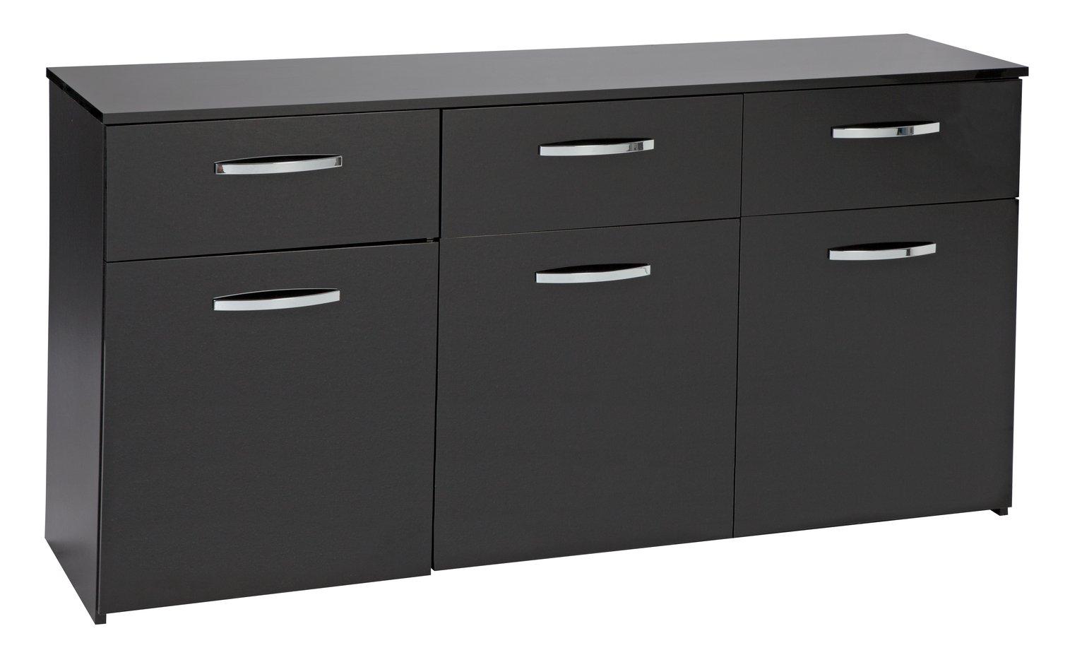 Hygena Hayward 3 Door 3 Drawer Sideboard - Black