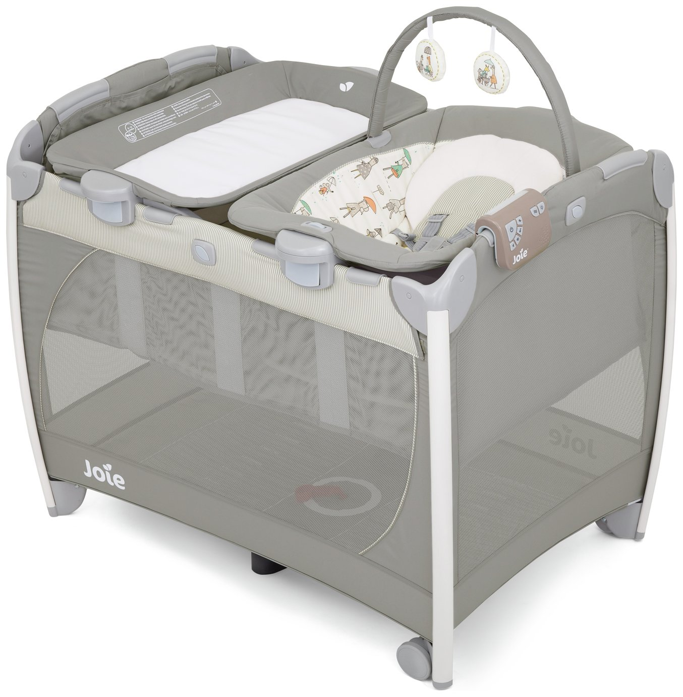 Image of Joie Excursion Change & Bounce Travel Cot - In the Rain