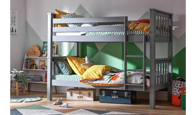 Argos Home Heavy Duty Bunk Bed and 2 Kids Mattresses - Grey