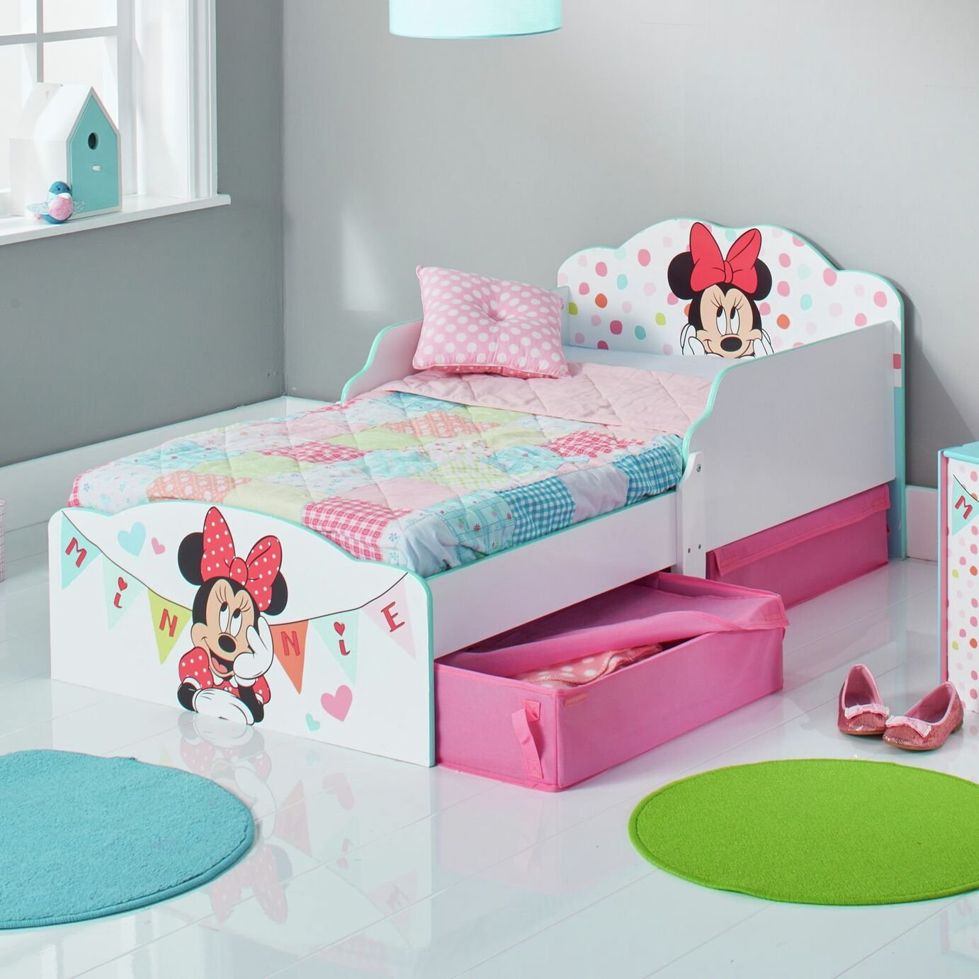 Minnie Mouse Toddler Bed with Underbed Storage Drawers