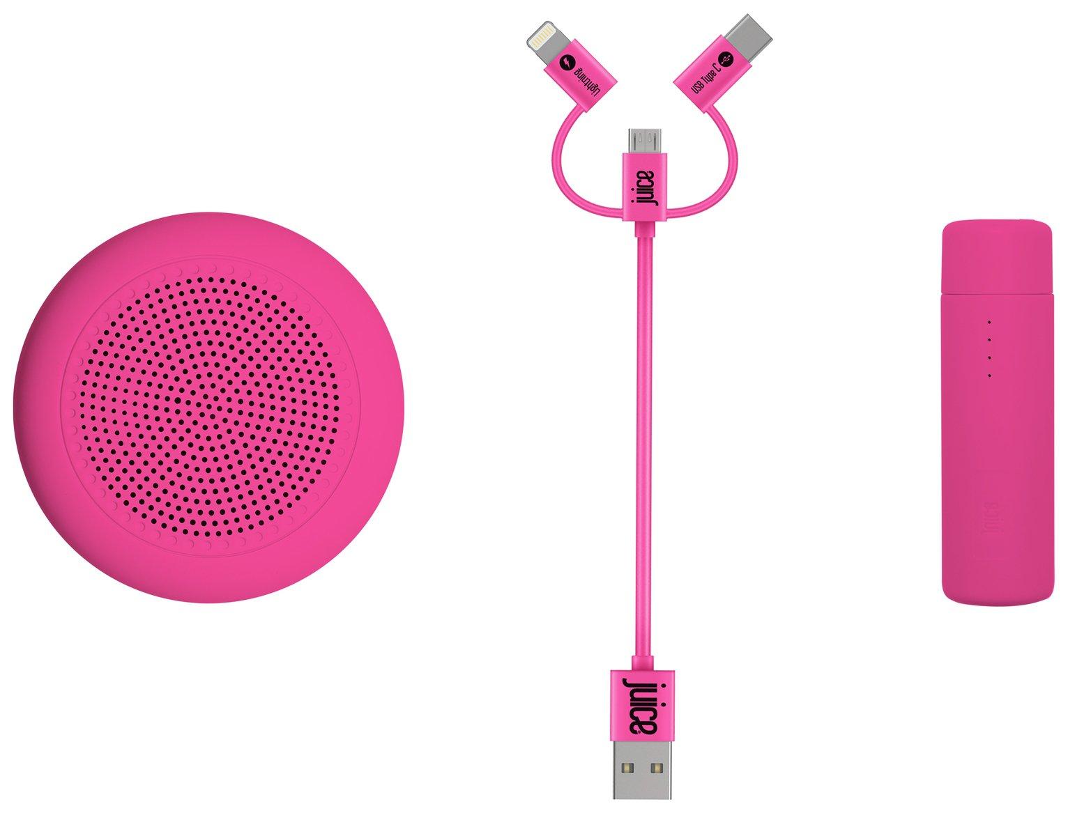 Juice Festival Essential Speaker and Power Bank - Pink