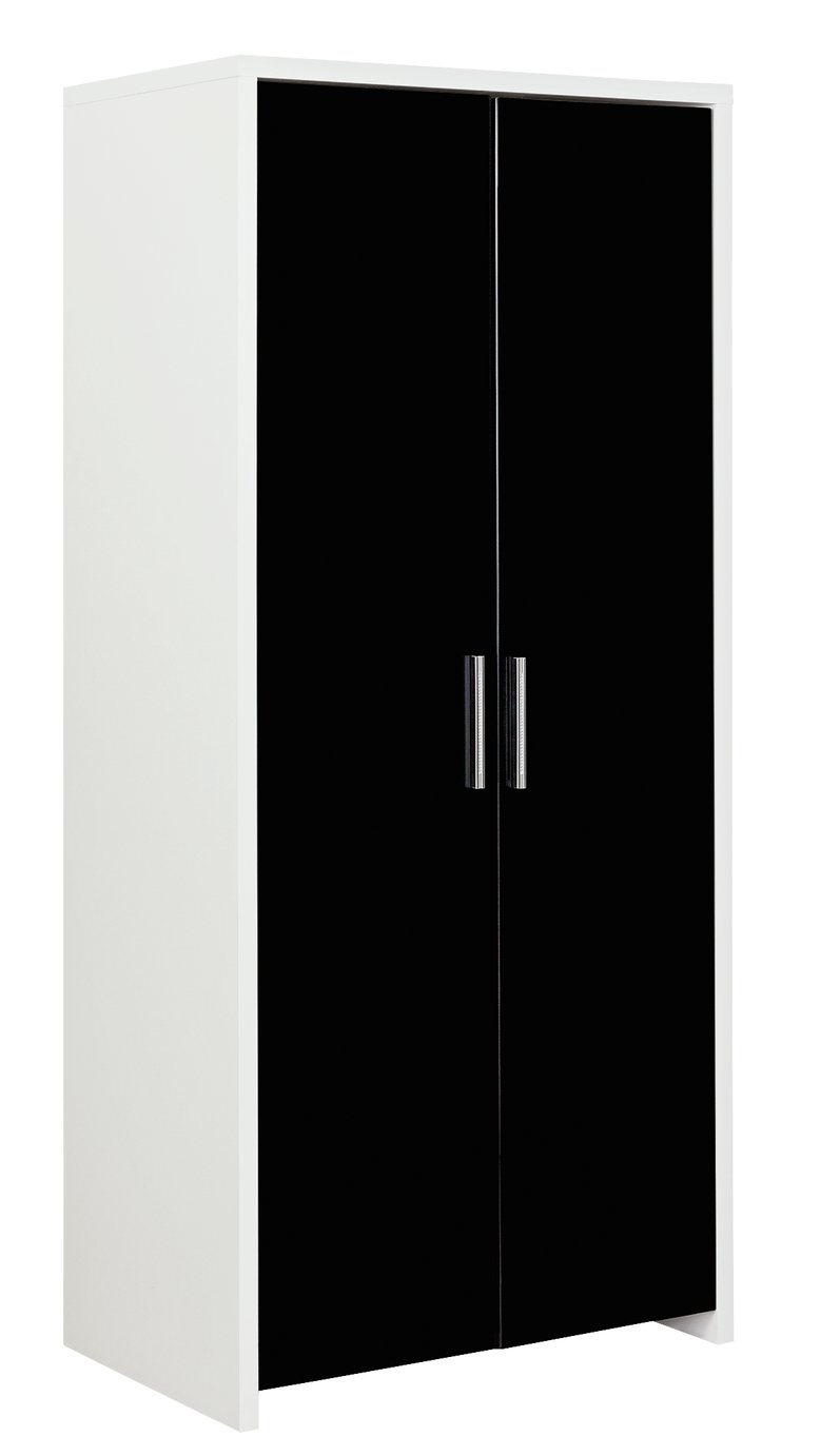 Argos Home Broadway 2 Door Wardrobe - Black Gloss & White