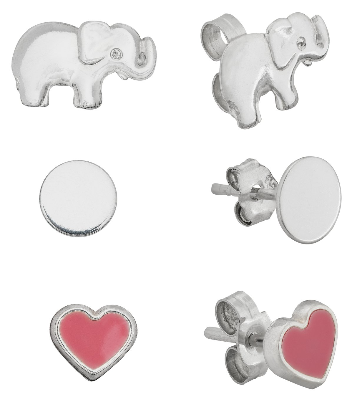 Revere Sterling Sliver Heart and Elephant Studs - Set of 3
