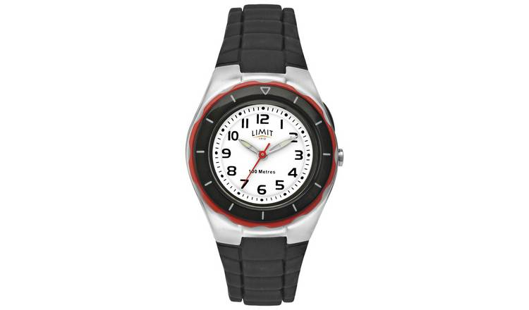 Limit White Dial Black Silicone Strap Watch