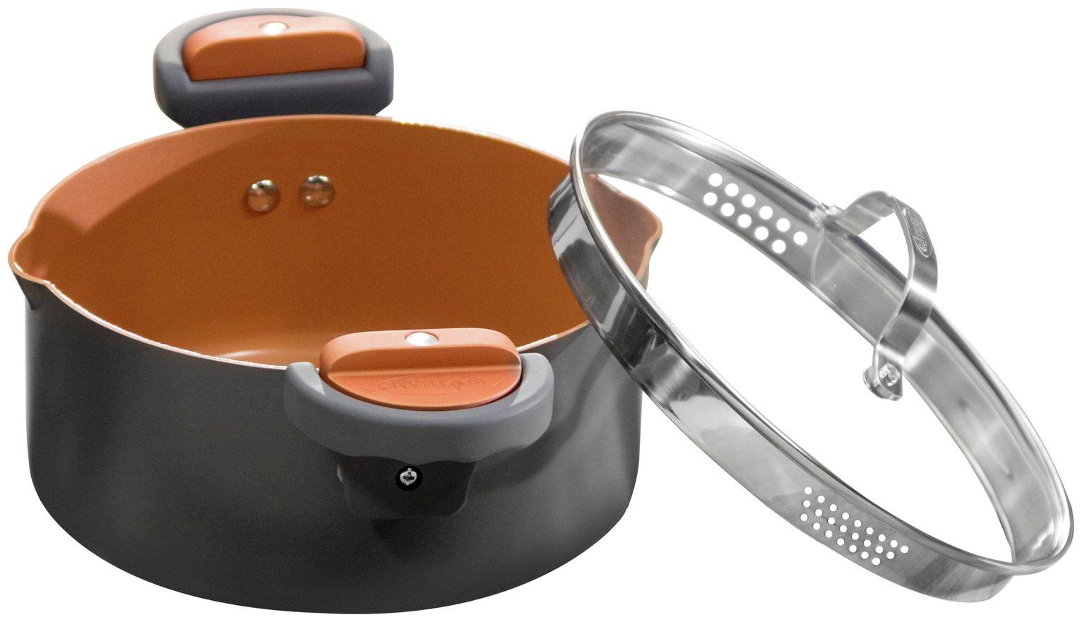 Gotham Steel Ceramic Pasta Pot with Lid - Black