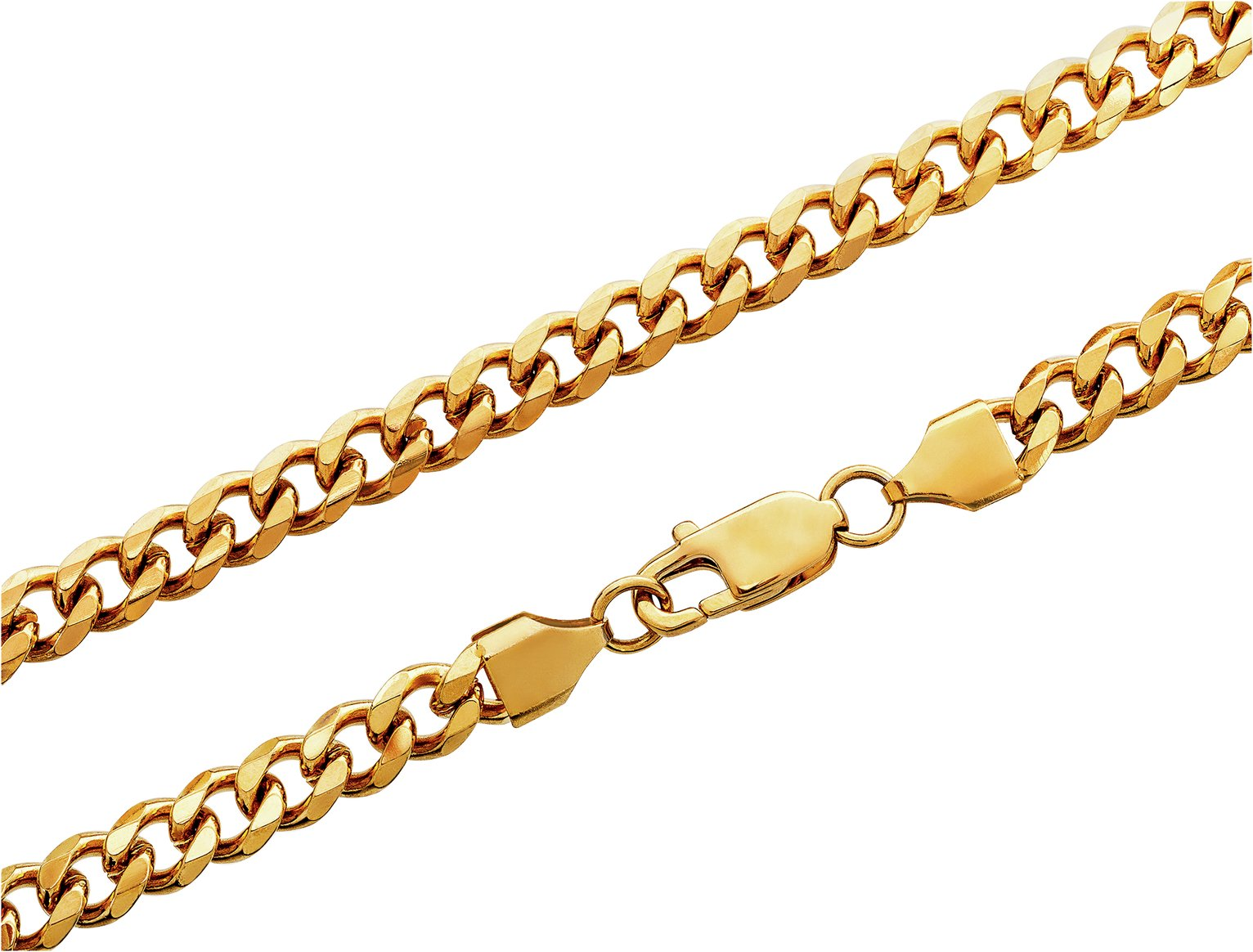 Revere Men's Stainless Steel Gold Colour Curb Chain