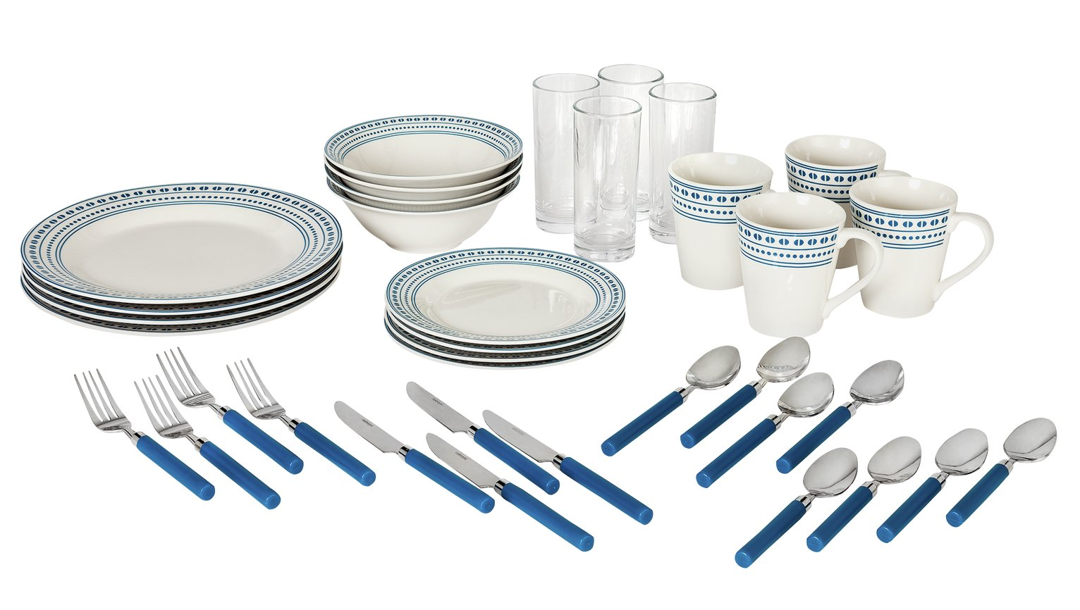 Argos Home Dotty 36 Piece Dinner Set - Blue