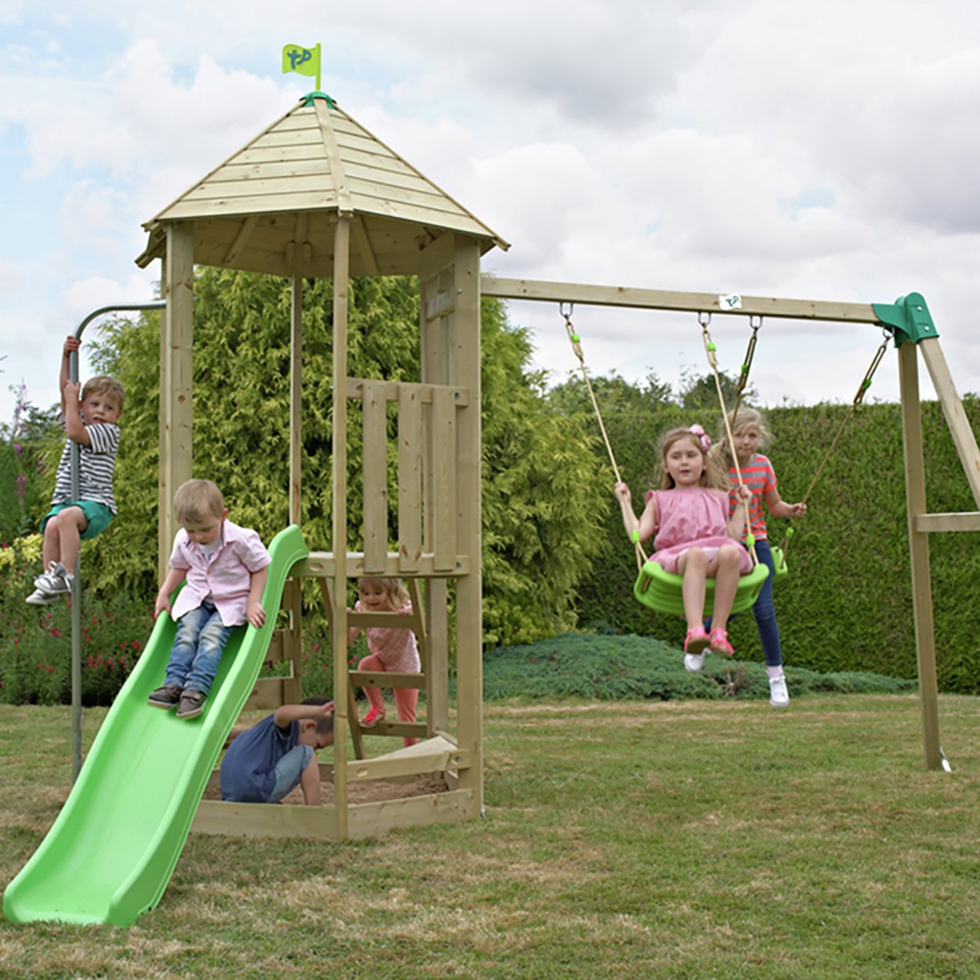TP Castlewood Wooden Swing Set And Tower Slide
