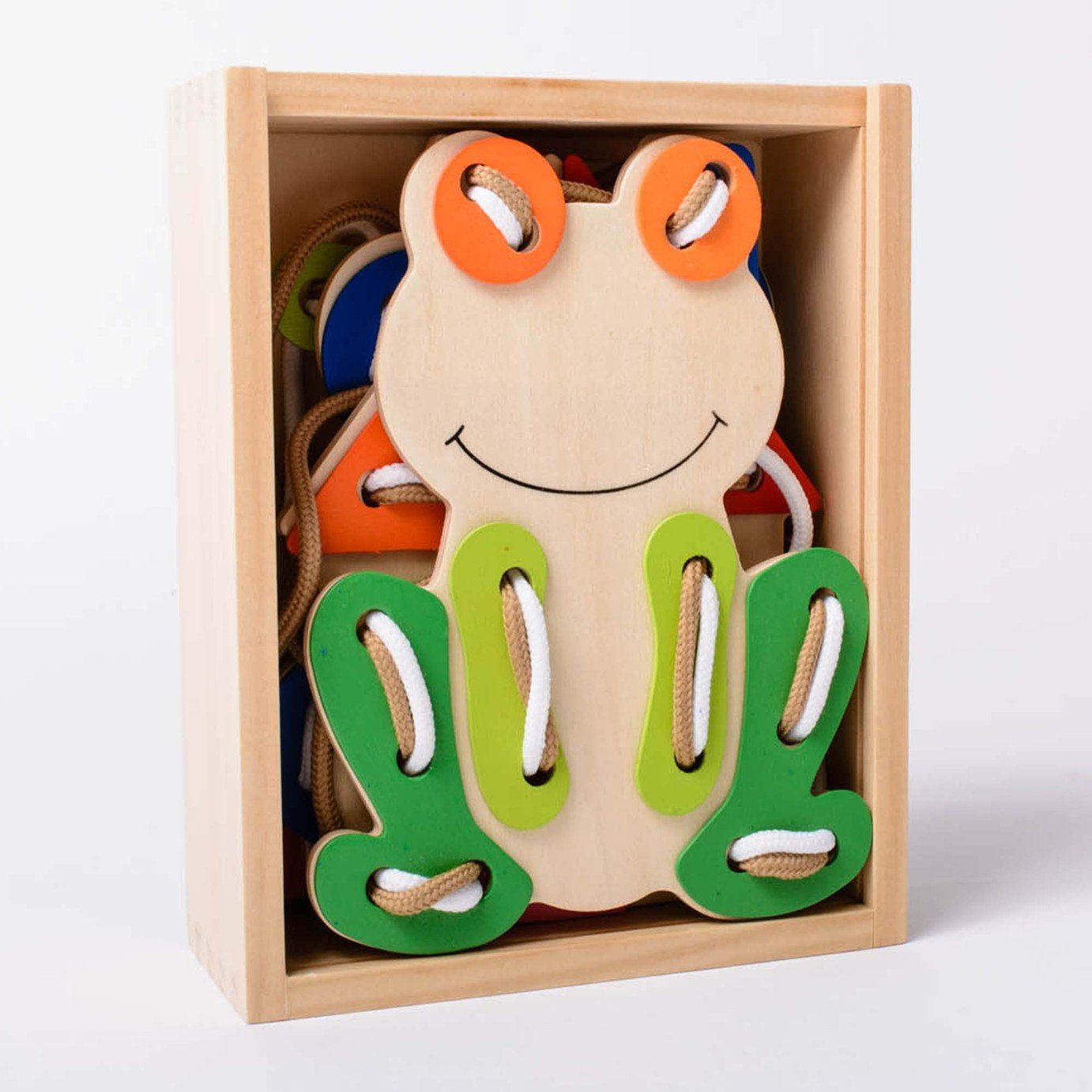 Image of EDUK8 Wooden Toy Matching and Threading Set