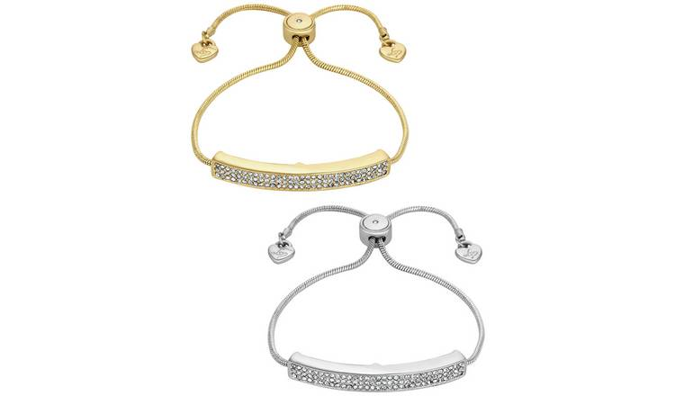 Lipsy Gold Colour Crystal Friendship Bracelets - Set of 2