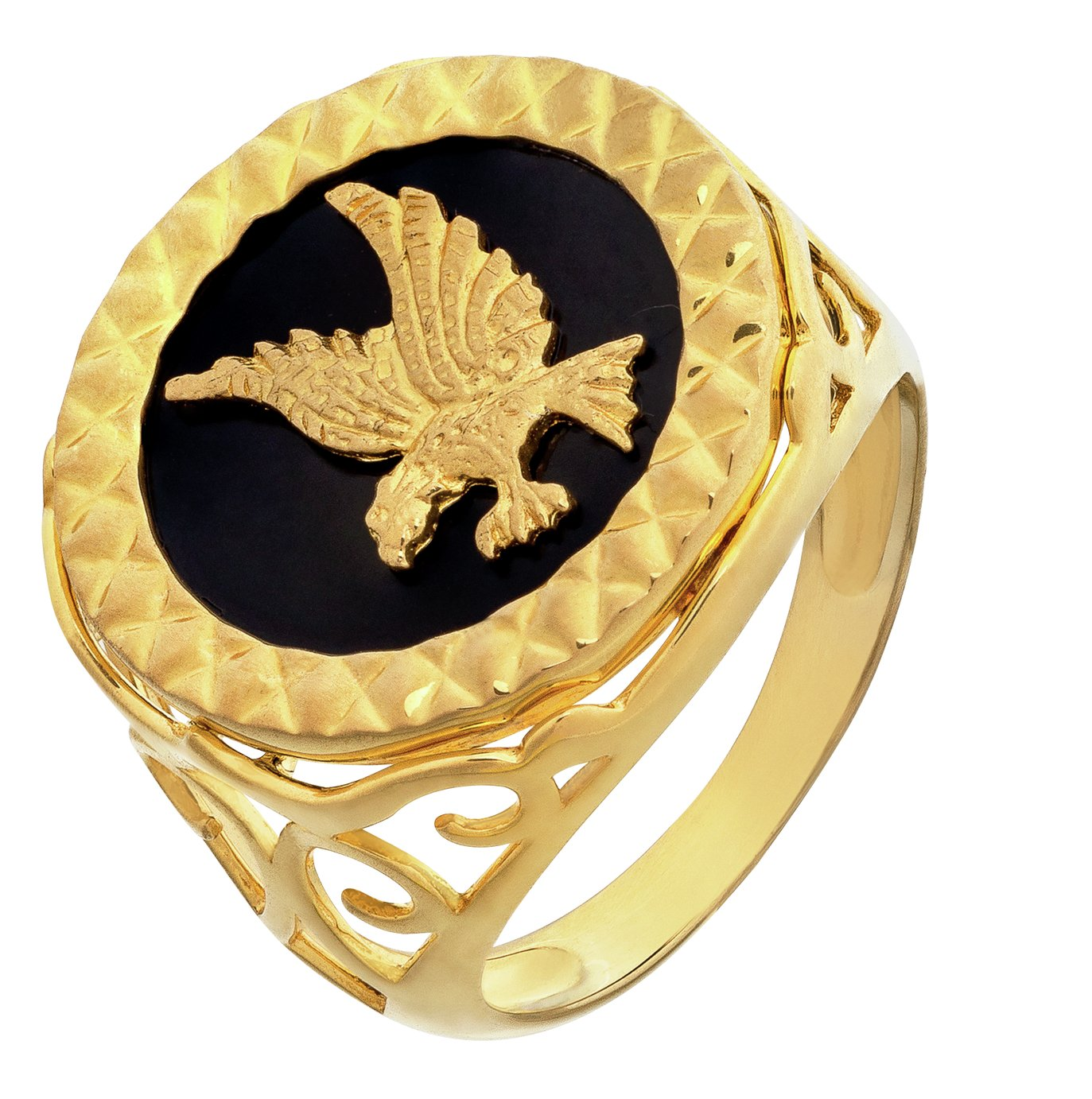 Revere Men's 9ct Gold Plated Silver Agate Eagle Ring