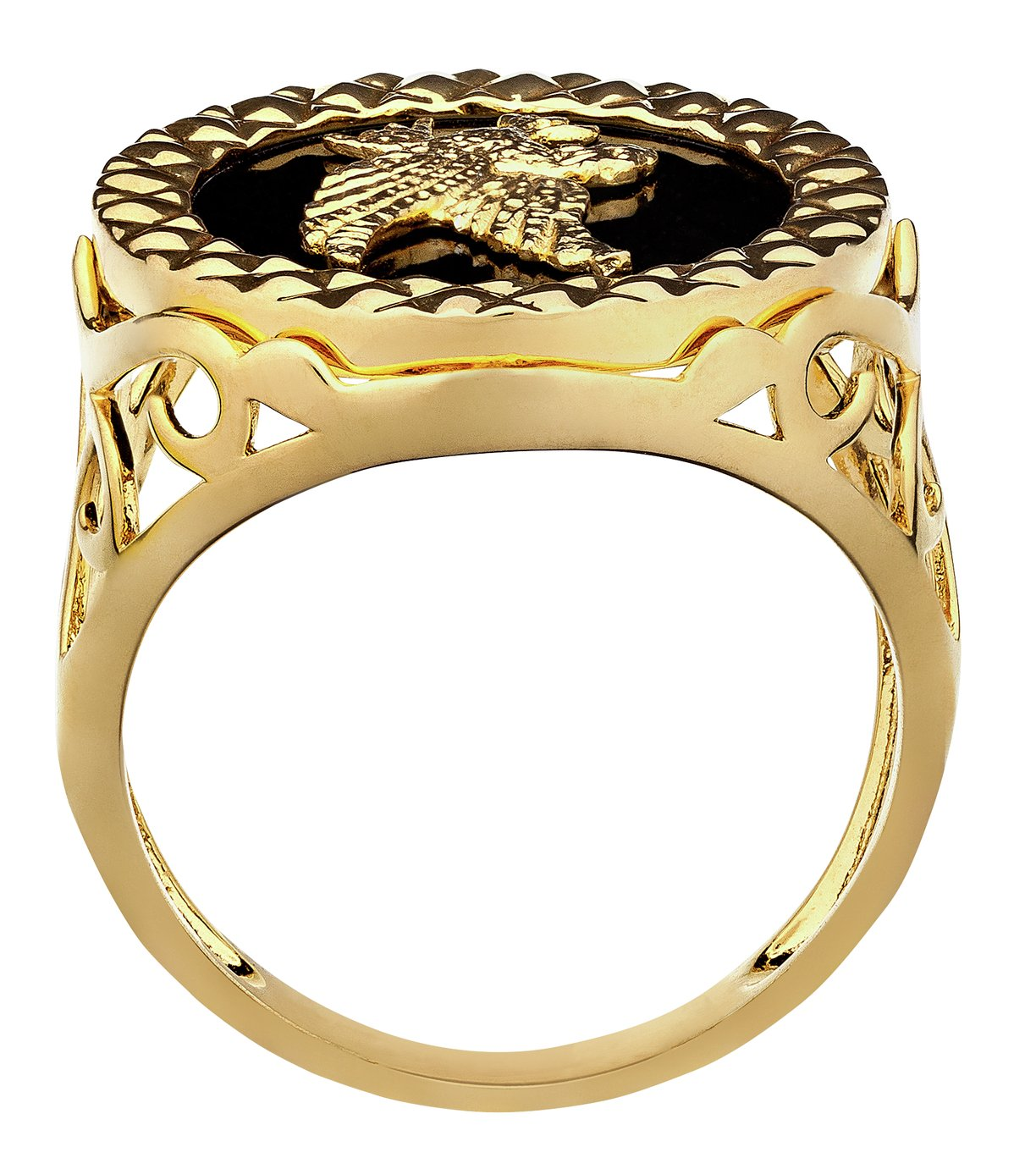 Buy Revere Men s 9ct Gold Plated Silver Agate Eagle Ring at Argos