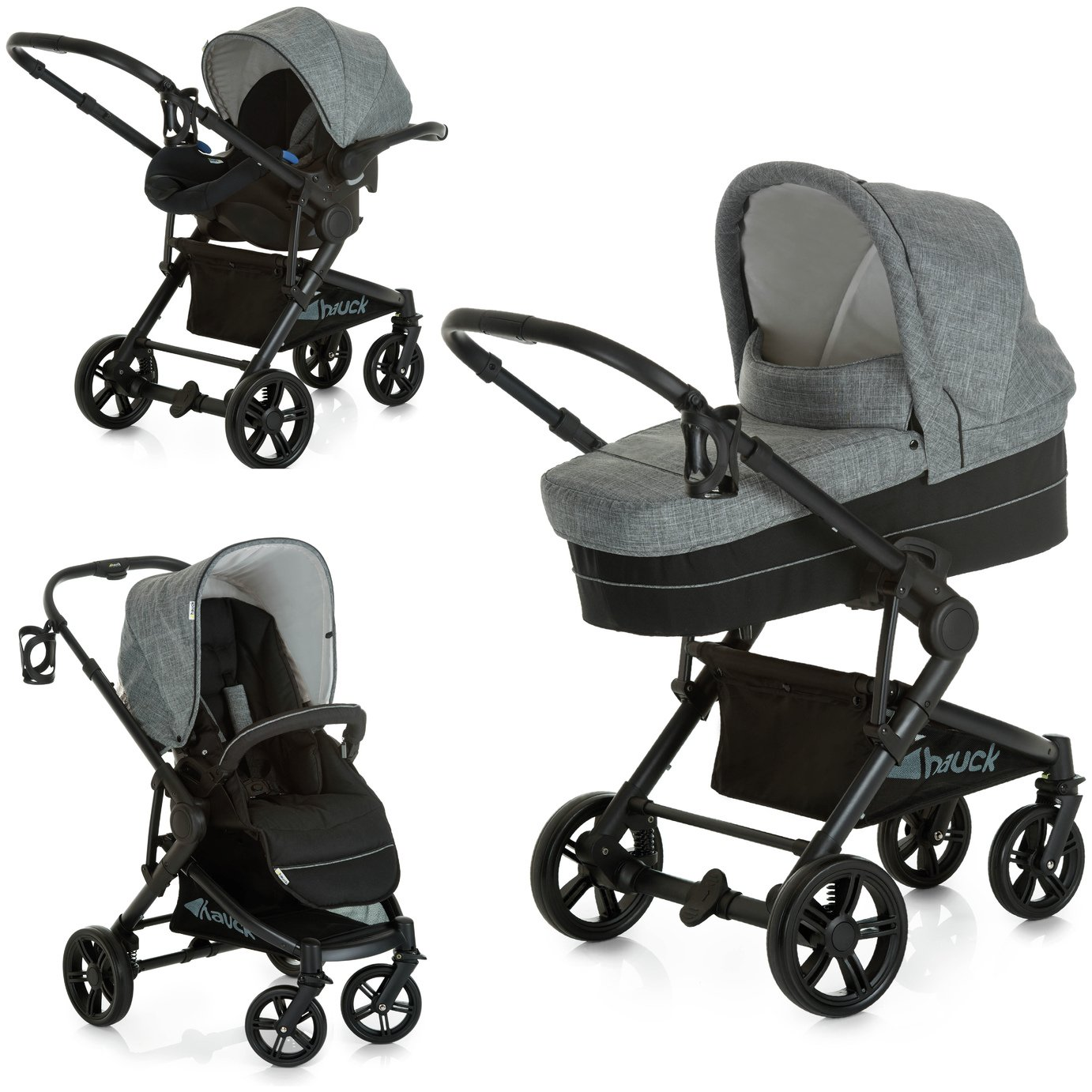 Hauck Atlantic Plus Trio Set Travel System - Grey