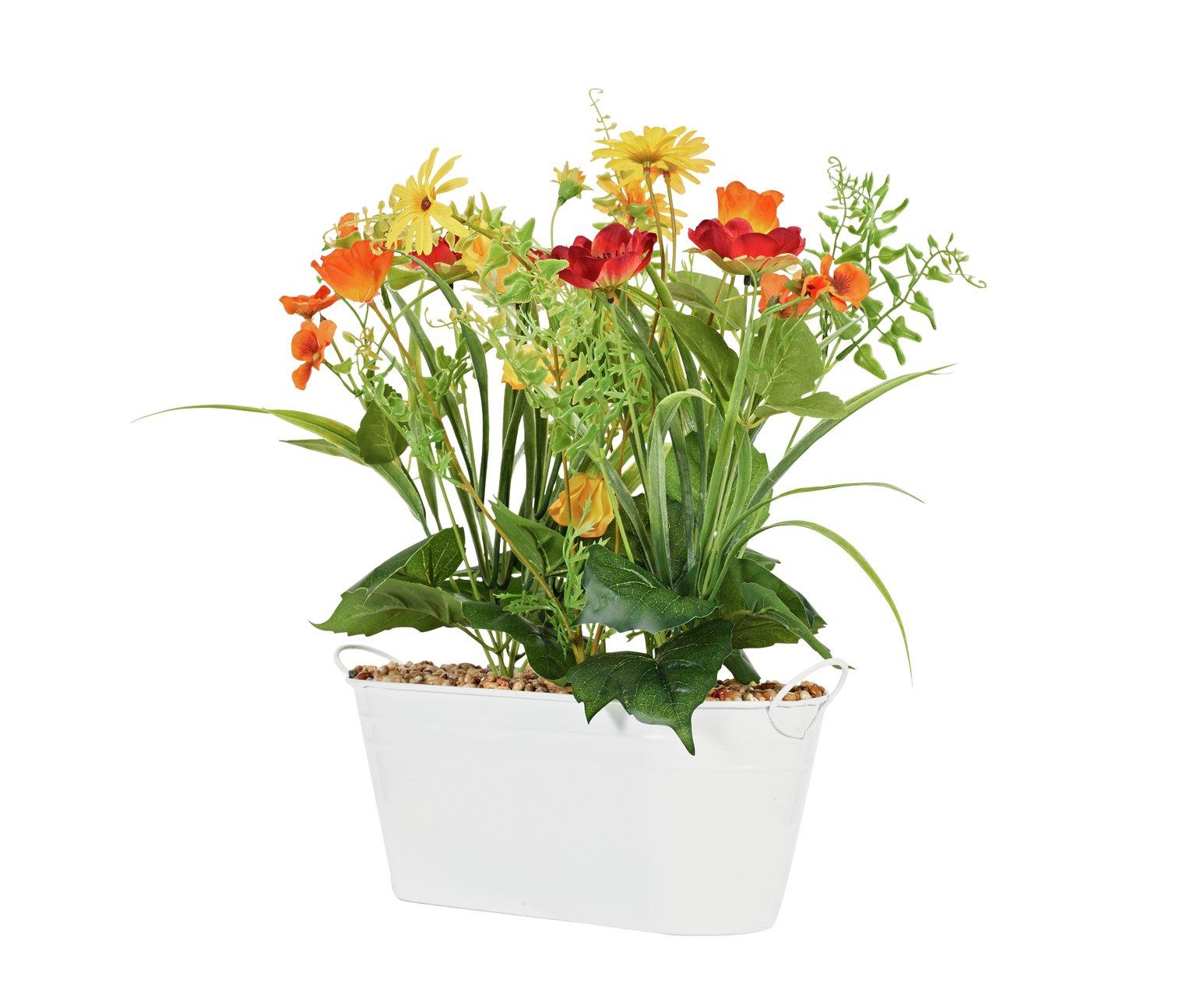 Faux Wild Flowers Windowsill Planter