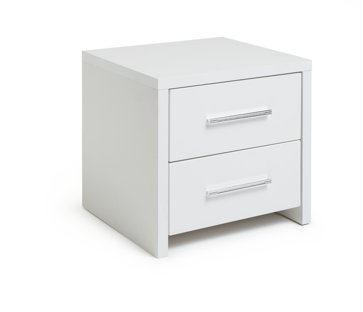 Argos Home Broadway 2Drw Bedside Chest - White Gloss & White